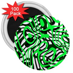 Ribbon Chaos Green 3  Magnets (100 pack) by ImpressiveMoments