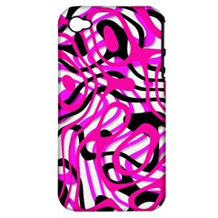 Ribbon Chaos Pink Apple iPhone 4/4S Hardshell Case (PC+Silicone)