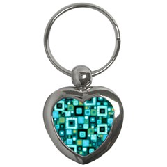 Teal Squares Key Chains (heart)  by KirstenStar