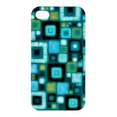 Teal Squares Apple Iphone 4/4s Premium Hardshell Case by KirstenStar