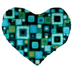 Teal Squares Large 19  Premium Heart Shape Cushions by KirstenStar