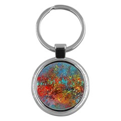 Abstract In Red, Turquoise, And Yellow Key Chains (round)  by theunrulyartist