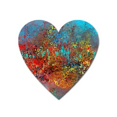 Abstract In Red, Turquoise, And Yellow Heart Magnet by theunrulyartist
