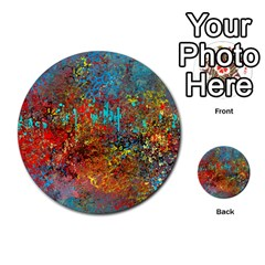 Abstract In Red, Turquoise, And Yellow Multi Purpose Cards (round)  by theunrulyartist