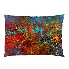 Abstract In Red, Turquoise, And Yellow Pillow Cases (two Sides) by theunrulyartist