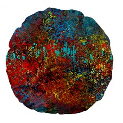 Abstract In Red, Turquoise, And Yellow Large 18  Premium Round Cushions by theunrulyartist