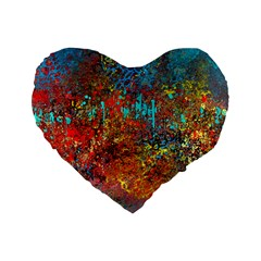Abstract In Red, Turquoise, And Yellow Standard 16  Premium Flano Heart Shape Cushions by theunrulyartist