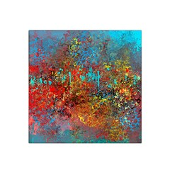 Abstract in Red, Turquoise, and Yellow Satin Bandana Scarf