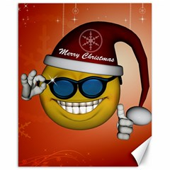 Funny Christmas Smiley With Sunglasses Canvas 16  X 20   by FantasyWorld7