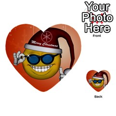 Funny Christmas Smiley With Sunglasses Multi Purpose Cards (heart)  by FantasyWorld7