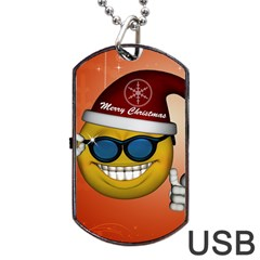 Funny Christmas Smiley With Sunglasses Dog Tag USB Flash (One Side) by FantasyWorld7