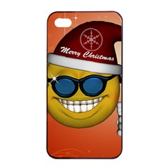 Funny Christmas Smiley With Sunglasses Apple Iphone 4/4s Seamless Case (black) by FantasyWorld7