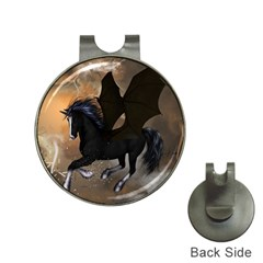 Awesome Dark Unicorn With Clouds Hat Clips With Golf Markers by FantasyWorld7