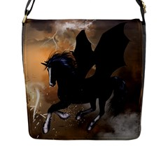 Awesome Dark Unicorn With Clouds Flap Messenger Bag (l)  by FantasyWorld7