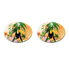 Cute Toucan With Palm And Flowers Cufflinks (oval) by FantasyWorld7