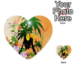 Cute Toucan With Palm And Flowers Multi Purpose Cards (heart)