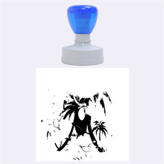 Cute Toucan With Palm And Flowers Rubber Round Stamps (large) by FantasyWorld7