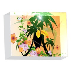 Cute Toucan With Palm And Flowers 5 x 7  Acrylic Photo Blocks by FantasyWorld7
