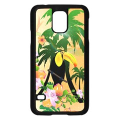 Cute Toucan With Palm And Flowers Samsung Galaxy S5 Case (black) by FantasyWorld7