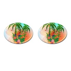 Tropical Design With Palm And Flowers Cufflinks (oval) by FantasyWorld7