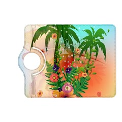 Tropical Design With Palm And Flowers Kindle Fire Hd (2013) Flip 360 Case by FantasyWorld7