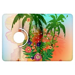 Tropical Design With Palm And Flowers Kindle Fire HDX Flip 360 Case by FantasyWorld7