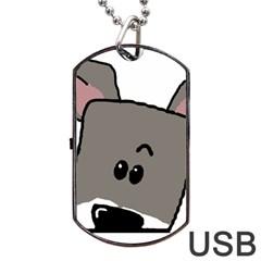 Peeping Miniature Schnauzer Dog Tag USB Flash (One Side)