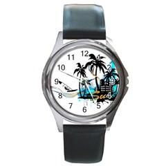 Surfing Round Metal Watches