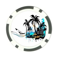 Surfing Poker Chip Card Guards by EnjoymentArt