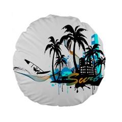 Surfing Standard 15  Premium Flano Round Cushions by EnjoymentArt