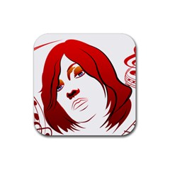 Women Face With Clef Rubber Square Coaster (4 Pack)  by EnjoymentArt