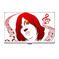 Women Face With Clef Business Card Holders by EnjoymentArt