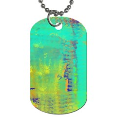 Abstract In Turquoise, Gold, And Copper Dog Tag (two Sides) by theunrulyartist