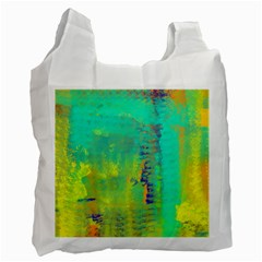 Abstract in Turquoise, Gold, and Copper Recycle Bag (One Side) by theunrulyartist