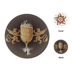 Music, Clef On A Shield With Liions And Water Splash Playing Cards (round)  by FantasyWorld7