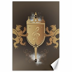 Music, Clef On A Shield With Liions And Water Splash Canvas 20  X 30   by FantasyWorld7