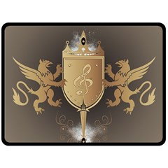 Music, Clef On A Shield With Liions And Water Splash Fleece Blanket (large)  by FantasyWorld7