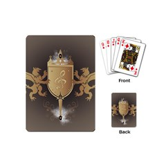Music, Clef On A Shield With Liions And Water Splash Playing Cards (mini)  by FantasyWorld7