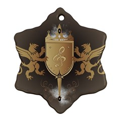 Music, Clef On A Shield With Liions And Water Splash Snowflake Ornament (2 Side) by FantasyWorld7