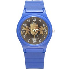 Music, Clef On A Shield With Liions And Water Splash Round Plastic Sport Watch (s) by FantasyWorld7
