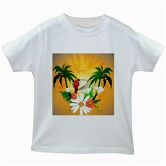 Cute Parrot With Flowers And Palm Kids White T Shirts by FantasyWorld7
