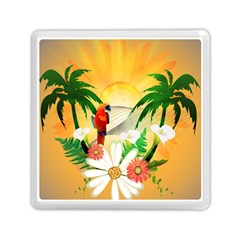 Cute Parrot With Flowers And Palm Memory Card Reader (Square)  by FantasyWorld7