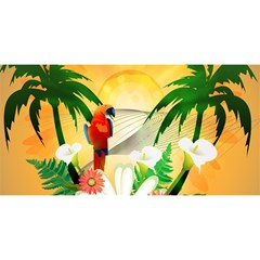 Cute Parrot With Flowers And Palm You Are Invited 3d Greeting Card (8x4)