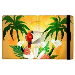 Cute Parrot With Flowers And Palm Apple Ipad 3/4 Flip Case by FantasyWorld7