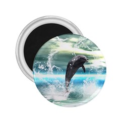 Funny Dolphin Jumping By A Heart Made Of Water 2.25  Magnets by FantasyWorld7