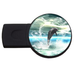 Funny Dolphin Jumping By A Heart Made Of Water Usb Flash Drive Round (4 Gb)  by FantasyWorld7
