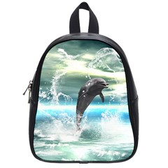 Funny Dolphin Jumping By A Heart Made Of Water School Bags (small)  by FantasyWorld7