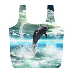 Funny Dolphin Jumping By A Heart Made Of Water Full Print Recycle Bags (l)  by FantasyWorld7