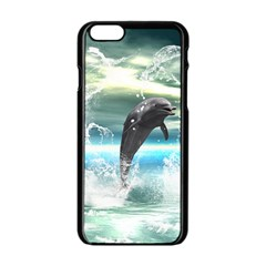 Funny Dolphin Jumping By A Heart Made Of Water Apple Iphone 6/6s Black Enamel Case by FantasyWorld7