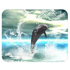 Funny Dolphin Jumping By A Heart Made Of Water Double Sided Flano Blanket (medium)  by FantasyWorld7